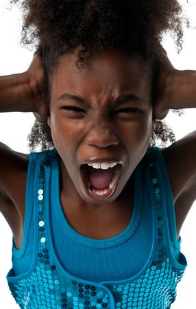 fear child: Little afro american girl screaming very loud and afraid. Stock Photo