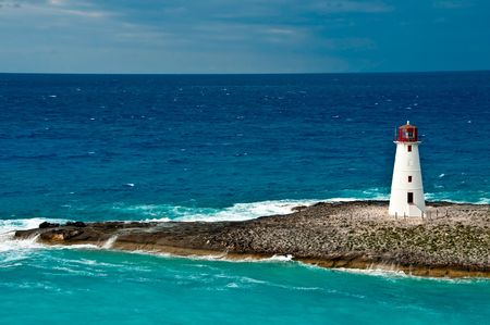 bahamas: View of lighthouse in Nassau, Bahamas in the Caribbean sea. Stock Photo