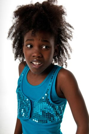 African american girl looking very scared.