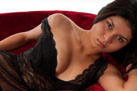 Hot latin girl in lingerie resting in sofa very sexy. Stock Photo - 6106504