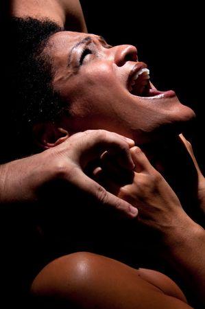 choke: Young hispanic woman being choked and abused.