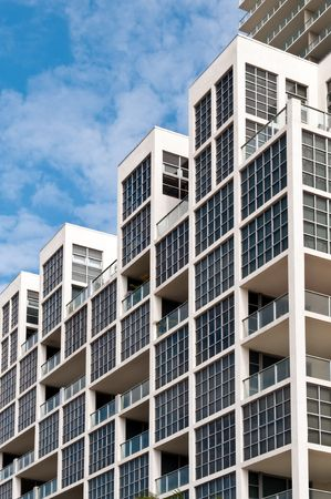 Detail of windows in high-rise building in Miami. Real Estate picture. Stock Photo - 6366084