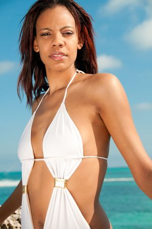 bahamian: Portrait of young Bahamian woman in the beach. Stock Photo