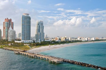 highrise: Aerial View or Miami Beach, Highrises and South Point Park in Miami, Florida. and South Point Park in Miami, Florida. Stock Photo