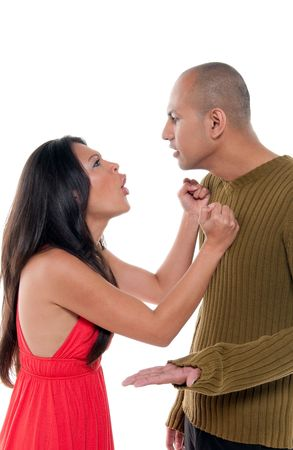 Young couple having an argument and fighting. photo