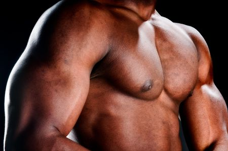 naked abs: Close up of very muscular torso of an african american body builder. Stock Photo