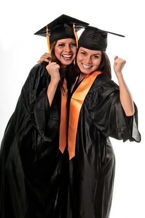 black graduate: Girls celebrating their graduation very happy. Stock Photo