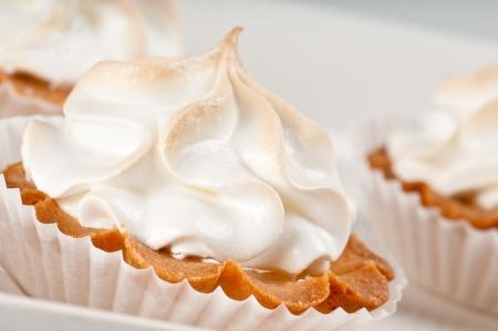 sweet tart: Close up of lemon pie bite ready to serve. Stock Photo