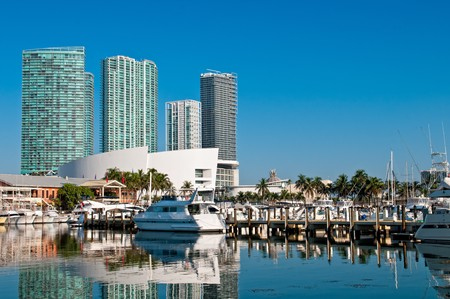 View of the Marina in Miami Bayside with modern buildings and skyline in the background. photo