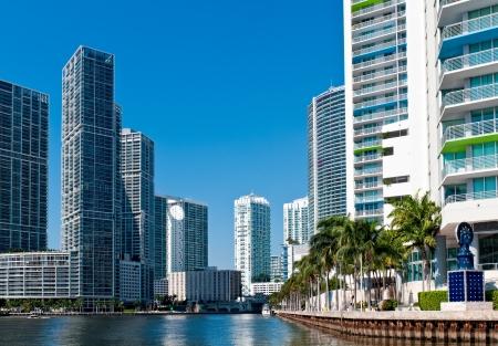 oceanfront: Condominium apartments over the Miami River, Miami. Florida.