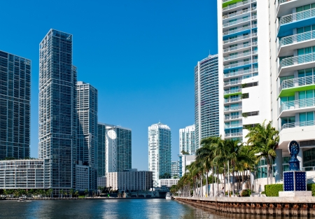 Condominium apartments over the Miami River, Miami. Florida. photo