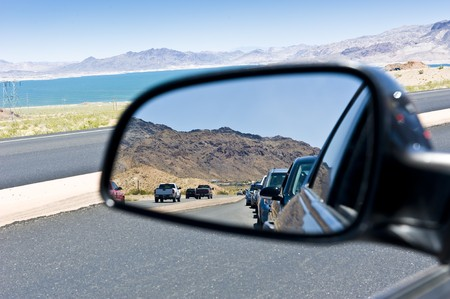 Reflection of a car line in a congested route Stock Photo - 8025427
