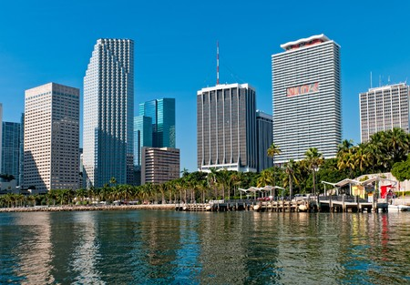 View of Bayfront Park  and downtown Miami from Biscayne Bay.