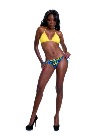 african bikini: Portrait of very sensual african american in swimsuit white isolated in studio. Stock Photo