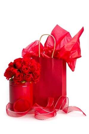 Saint Valentine presents with decorations of roses and ribbon. photo