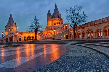 bastion: View of the Budapest Fishermens Bastion at dusk.