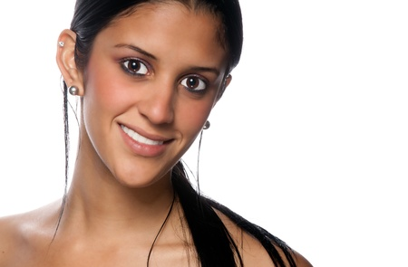 Portrait of beautiful hispanic woman smiling. photo