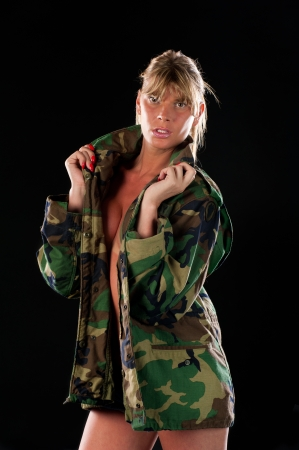 bisexual women: Transexual posing in studio and looking at camera. Stock Photo