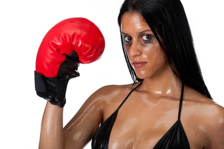 Attractive hispanic woman portrait with boxing gloves. photo