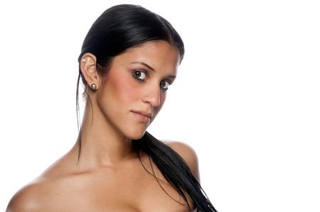 Portrait of beautiful hispanic woman looking at camera photo