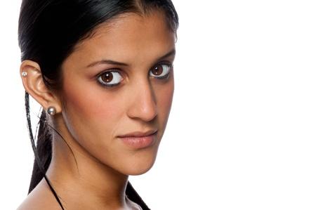latina girl: Portrait of beautiful hispanic woman with copyspace at right.