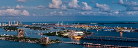 Aerial view of the Miami Seaport, Miami Beach and Watson Island in Florida.
