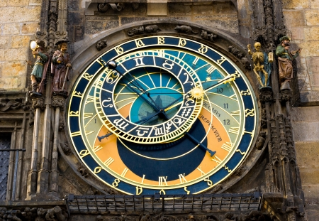 clock: View of the astronomical clock in Prague, this a a popular tourist attraction  Stock Photo