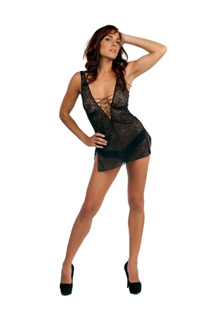 Portrait of young hispanic woman posing sexy with lingerie  Stock Photo