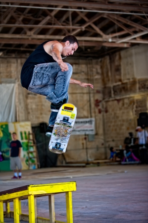 FORT LAUDERDALE, FL - MAY 28  Skateboarder jumps in a demonstration during the Graffiti Expo on May 28, 2011 in Fort Lauderdale  Editorial Use Only