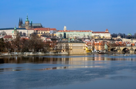 View of the Prague Castle and Church over the Vtlava River in the Czech Republic