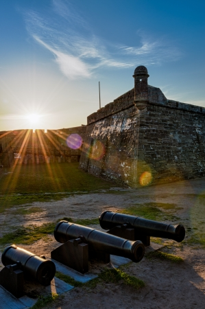 fl: Historic San Marcos Castle in St. Augustine at sunset. Stock Photo