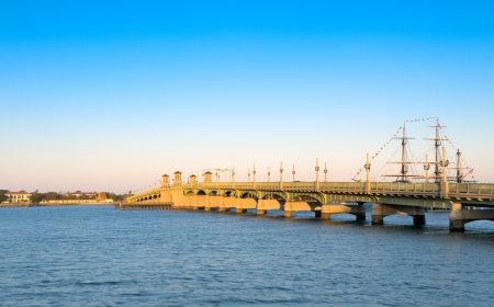 View of the Bridge of Lions in St  Augustine, Florida  This is a very popular tourist destination  Stock Photo