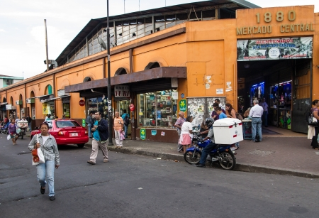 SAN JOSE, COSTA RICA - CIRCA AUGUST 2012  Exterior of Central Market circa 2012 in San Jose, a very popular attraction and the biggest market in the city  with more than 10 000 daily visitors  Editorial