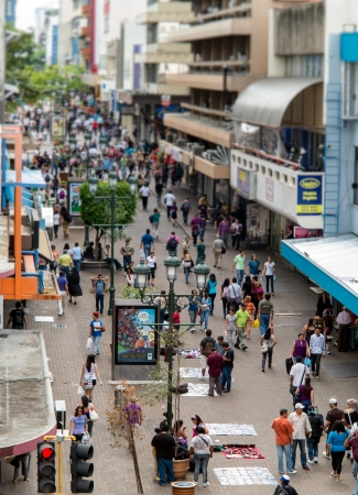 SAN JOSE, COSTA RICA - CIRCA AUGUST 2012  View of the Avenida Central Street circa 2012 in San Jose, a very popular tourist destination with 2 2 million foreign visitors a year