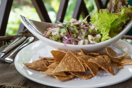 Plate of Ceviche, a popular dish in Central and South America  The dish is typically made from fresh raw fish marinated in citrus juices such as lemon or lime and spiced with chili peppers