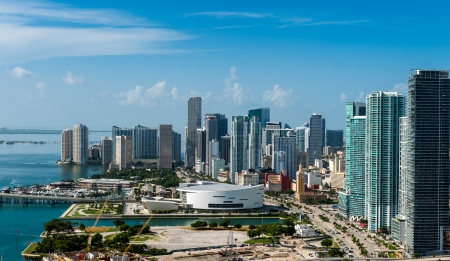 Aerial view of downtown Miami  All logos and advertising removed