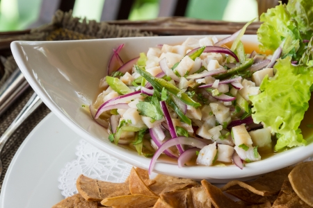 peruvian: Plate of Ceviche, a popular dish in Central and South America. The dish is typically made from fresh raw fish marinated in citrus juices such as lemon or lime and spiced with chili peppers.