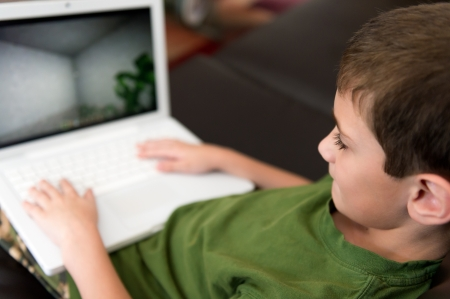 computer game: 6 year boy hapy playing with computer at home.
