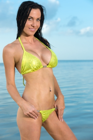 Sensual brunette woman smiling in the beach. photo