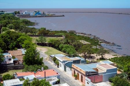 Aerial view of Colonia del Sacramento and the Rio de la Plata River in Uruguay  Imagens