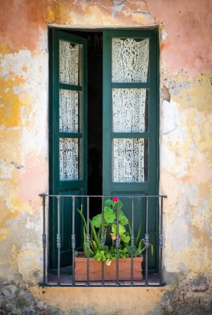 View of a typical window in the historic city of Colonia del Sacramento in Uruguay