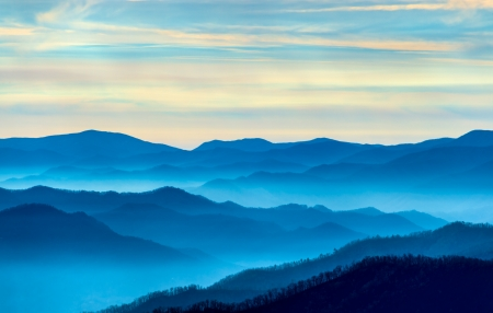 Bekijk de Smoky Mountains van Route 441 Pas ontdekt Gap Stockfoto