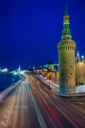 moskva river: View of the side street of the Kremlin and the Moskva River in Moscow, Russia  Stock Photo