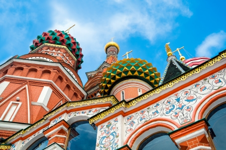 Architechtural detail of domes in St  Basil