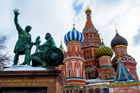 View of the sculture of the entrance of the Famous St  Basil