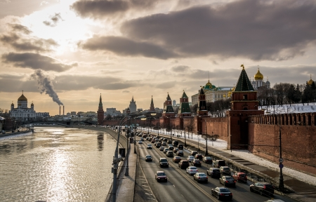 moskva river: View of the Moskva River with the Kremlin and Cathedral of Christ the Saviour in the background in Moscow
