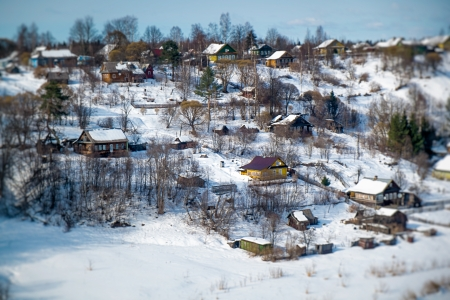 rural town: View of snowed rural town in Russia Stock Photo