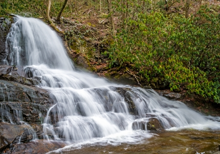 great smoky mountains national park: View of the Laurel Falls in the Smoky Mountains National Park in Tennessee