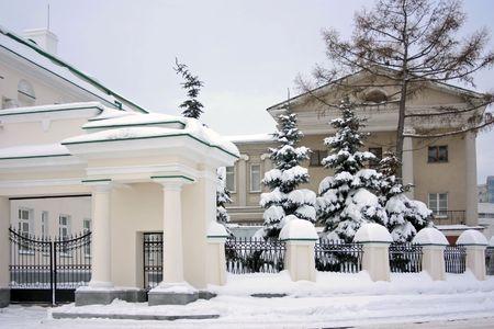 Facade of a building in snow photo