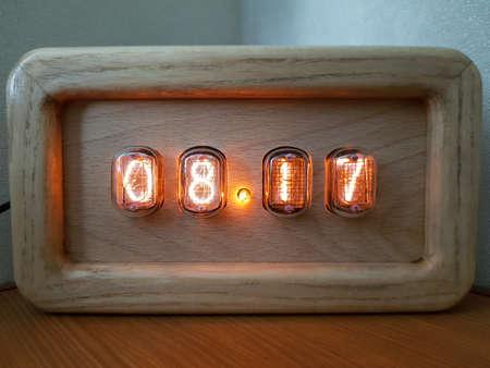 Homemade clock on discharge indicators Reklamní fotografie